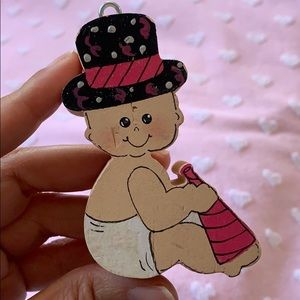 "3"" wooden block New Year's Eve baby 👶 ornament"